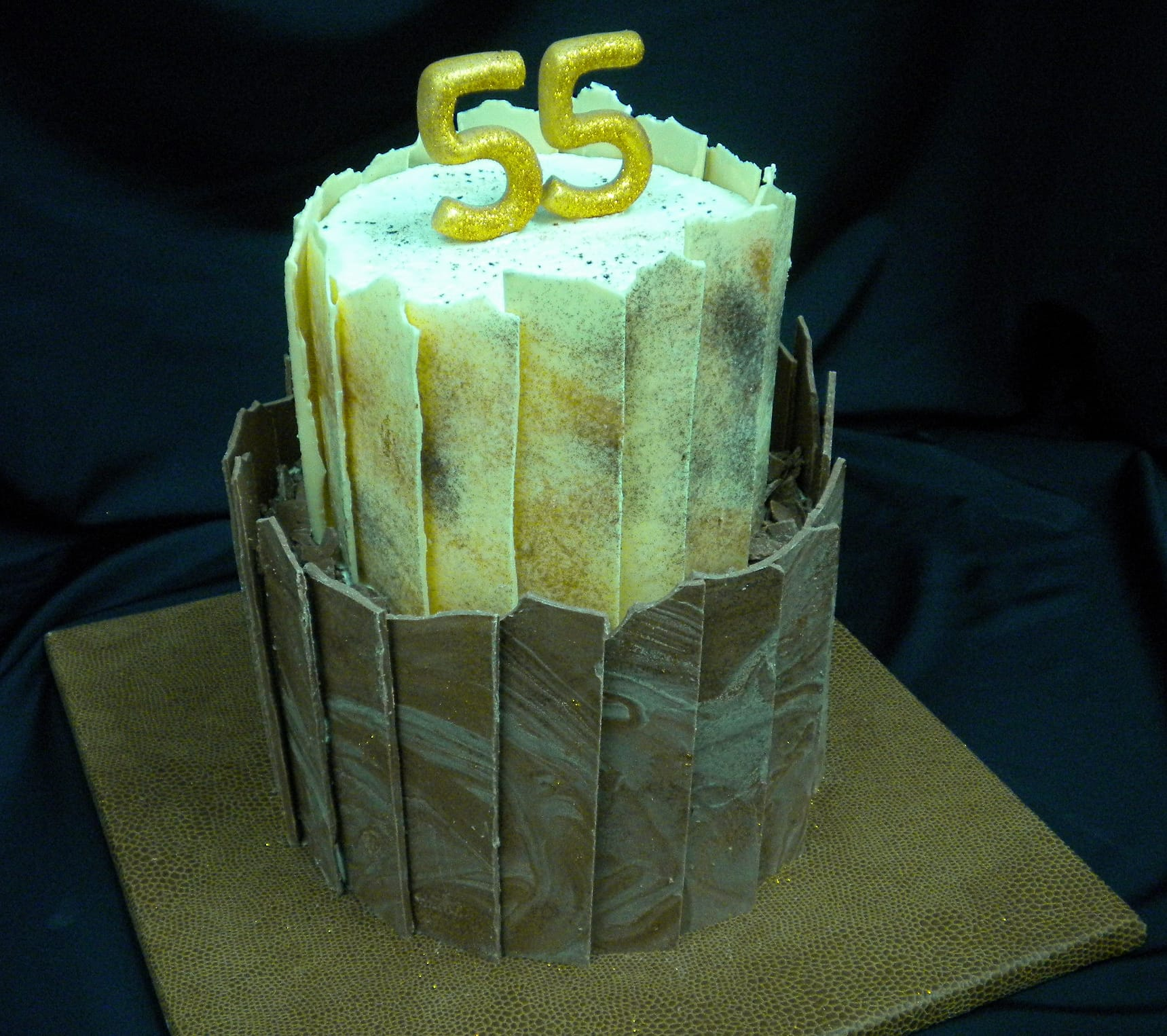 55th Anniversary Cake with Chocolate Shards