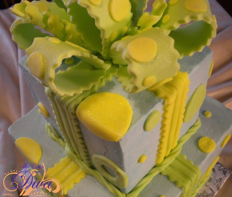 Lime Green and Blue Gift Box Cake
