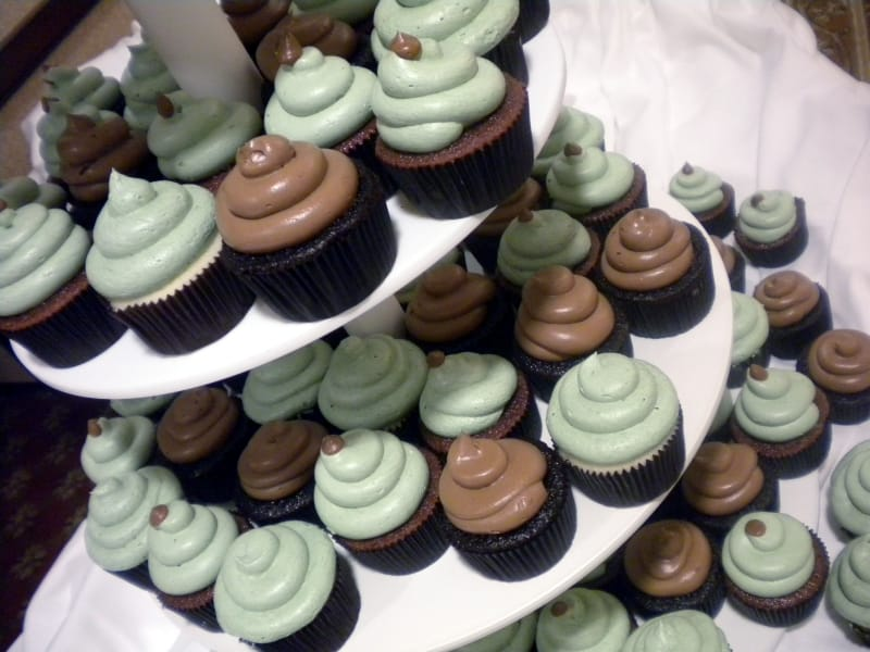 Cupcake Tower with Sage & Brown