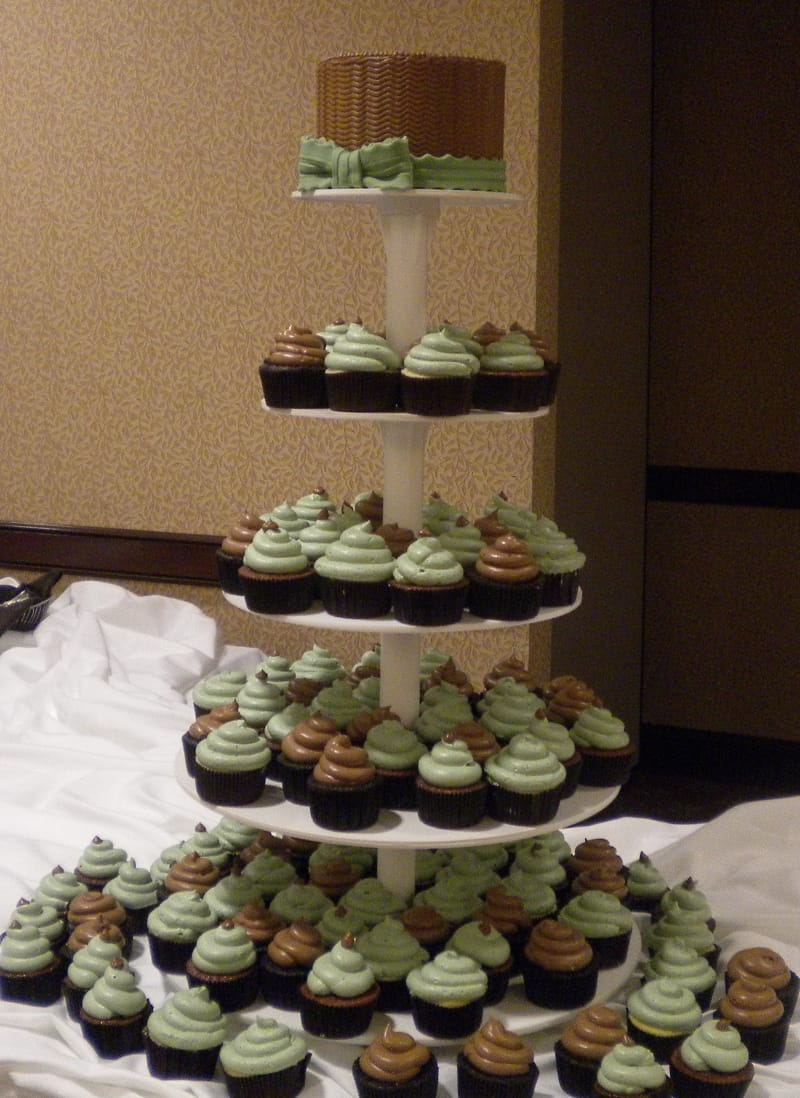 Sage and Brown Cupcake Tower