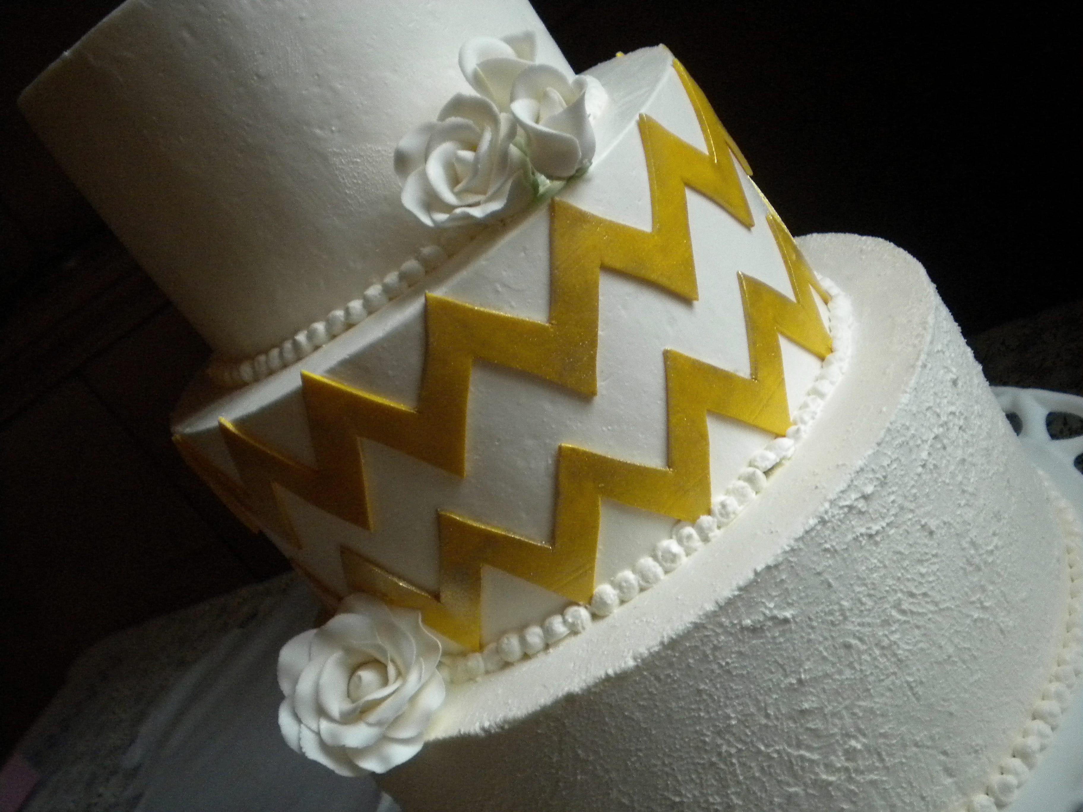 ... Gold Chevron Gluten Free Wedding Cake