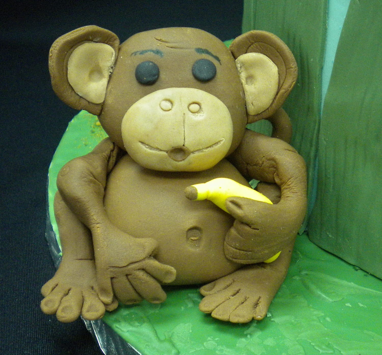 Fondant monkey with Banana