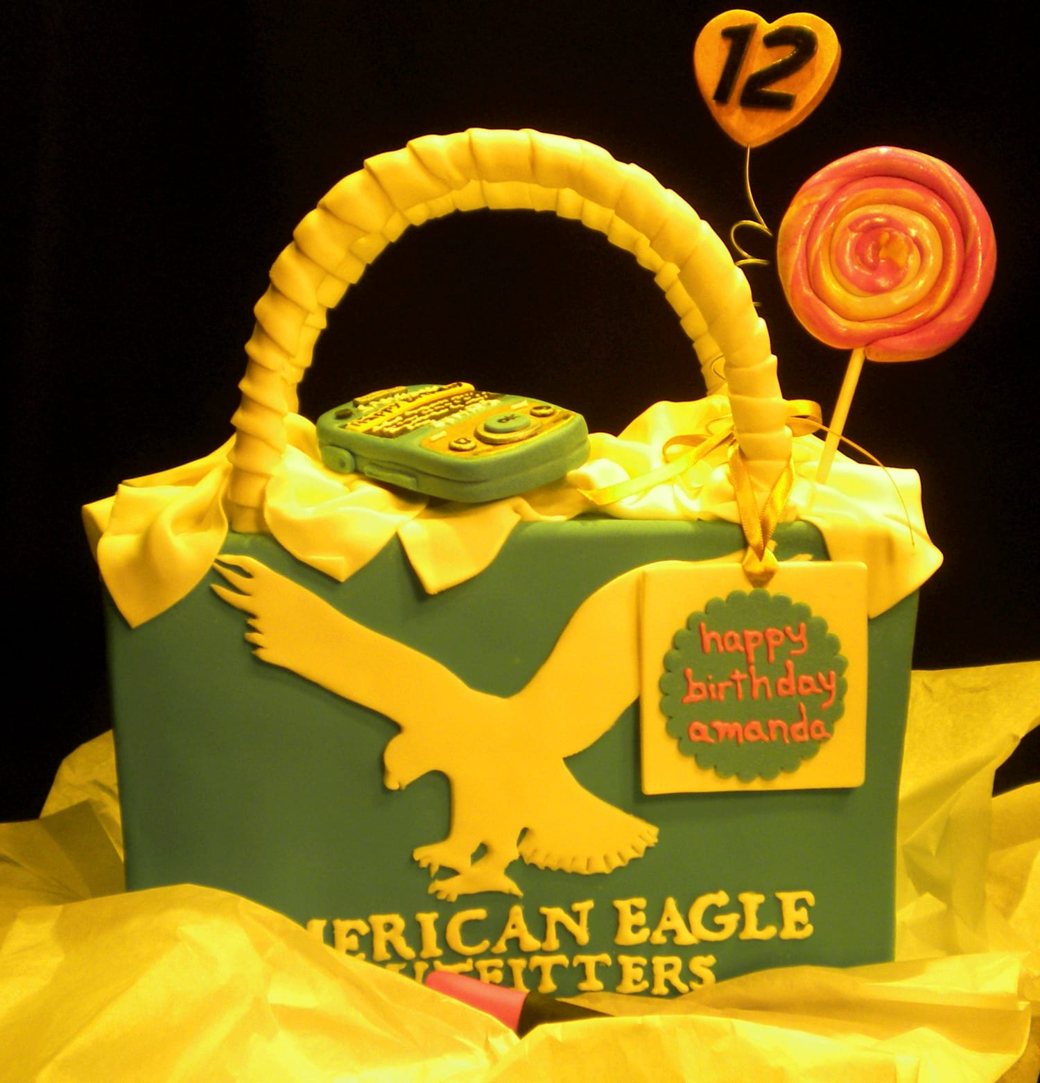 American Eagle Shopping Bag Cake