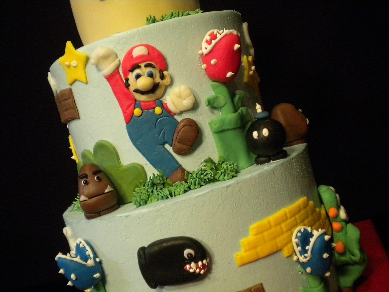 Super Mario Birthday Cake - closeup