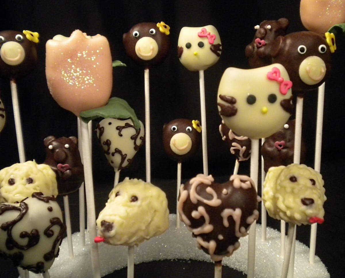 Hello Kitty Cake Pops, Dog Cake Pops, Monkey Cake Pops