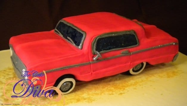 Red Groom\'s Car Cake